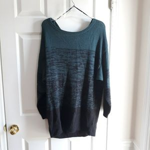 H&M green off the shoulder tunic sweater